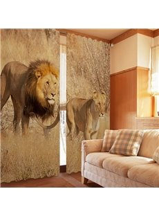 Amazing Couple Lions Walking Print 2-Piece Polyester 3D Curtains