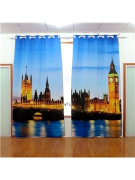 Amazing City Scene Printing Energy Saving Blackout 3D Curtain
