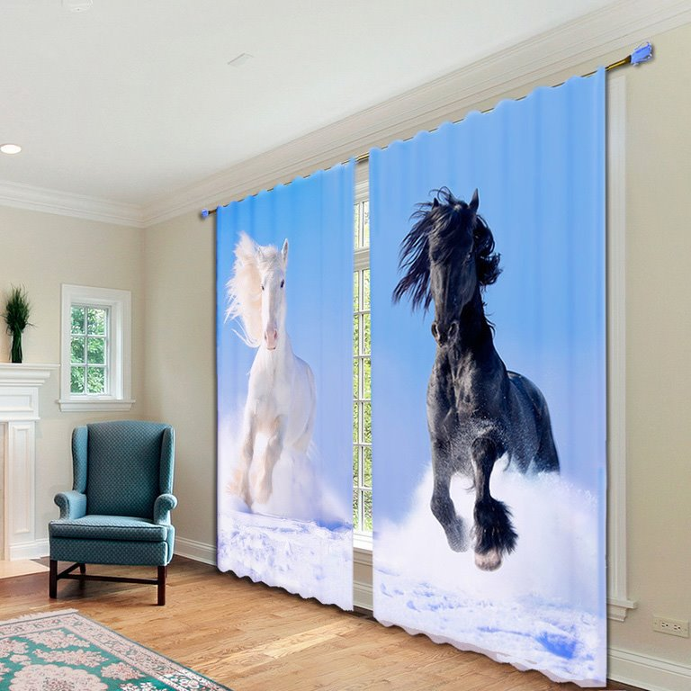 Impetuous White and Black Horses Printed Polyester Animal Scenery Custom 3D Curtains