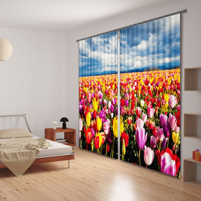 Wonderful Colorful Tulips 2-Piece Polyester 3D Curtains