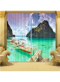 Wonderful Sea Scenery Print 3D Blackout Curtain