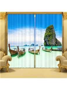Green Sea and Boat Print 3D Blackout Curtain