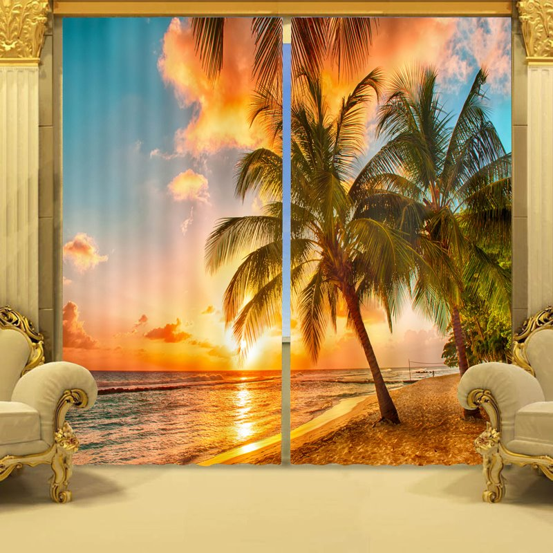 60 3D Vivid Coconut Trees in Sunset Printed Natural Scenery Polyester  Custom Curtain for Living Room