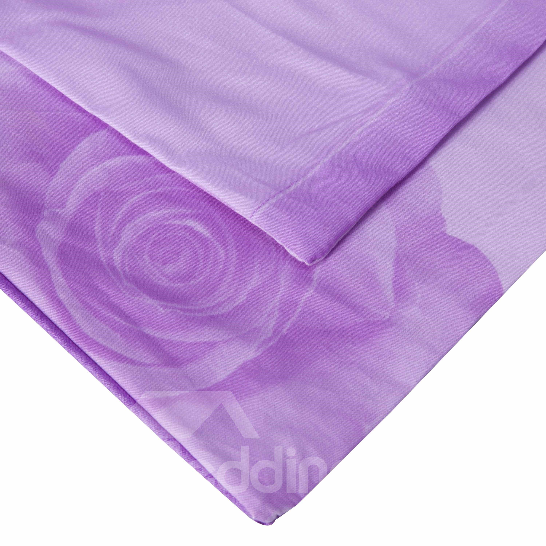 3D Purple Rose Printed Cotton 4-Piece Bedding Sets/Duvet Covers