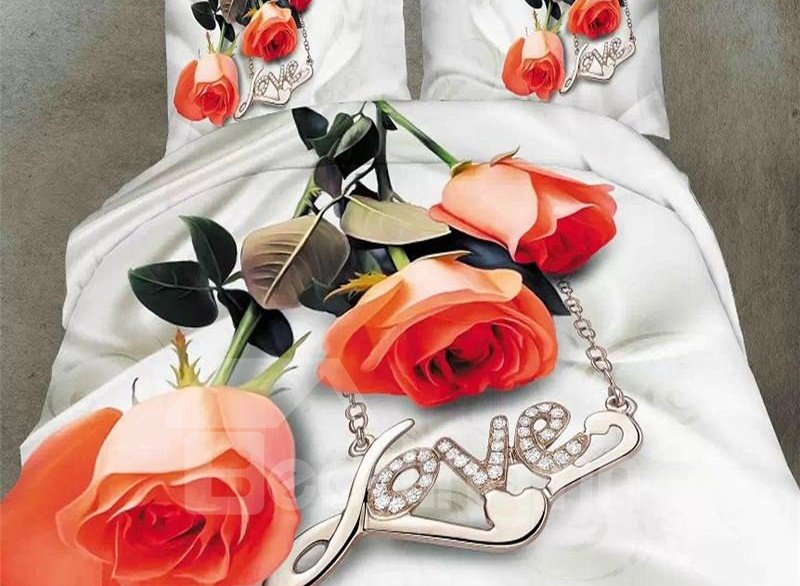 Rose and  Love Necklace Print 4-Piece Polyester Duvet Cover Sets