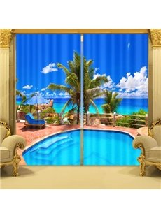 Fantastic Swimming Pool and Blue Sky Energy Saving 3D Curtain