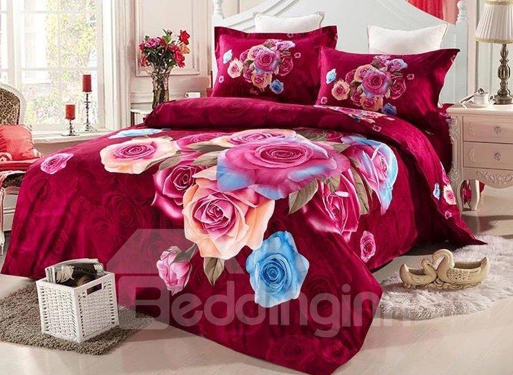 Top Class Colorful Rose Print 4-Piece Duvet Cover Sets