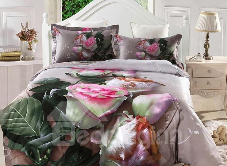 Dewy Pink Rose Print 4-Piece Cotton Duvet Cover Sets