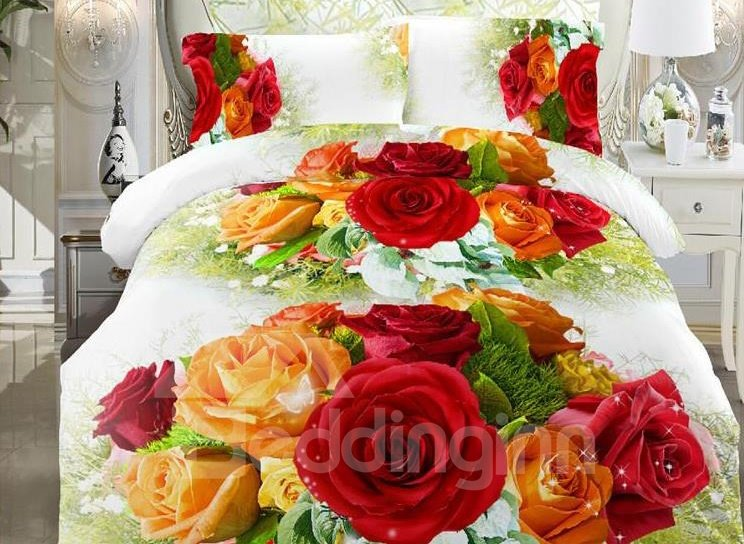 Orange and Pink Rose Print 4-Piece Polyester Duvet Cover Sets