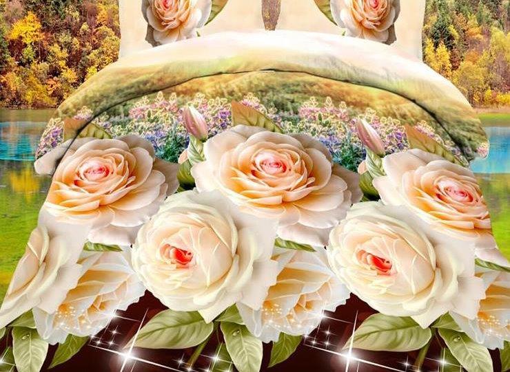 Camellia Flower Print 4-Piece Polyester Duvet Cover Sets