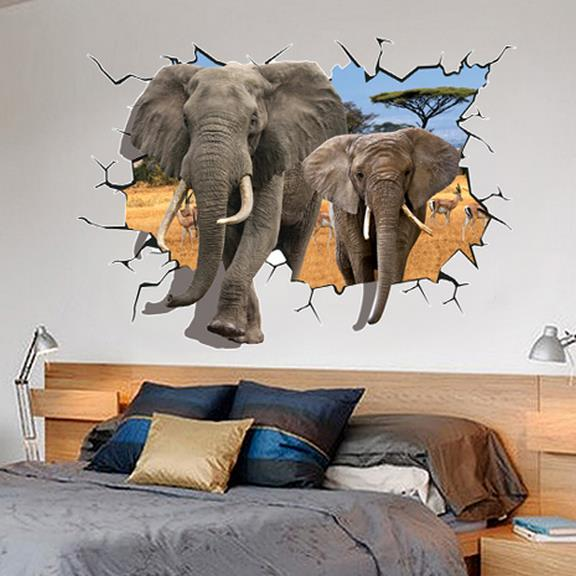 Two Elephants Through The Wall 3D Wall Sticker