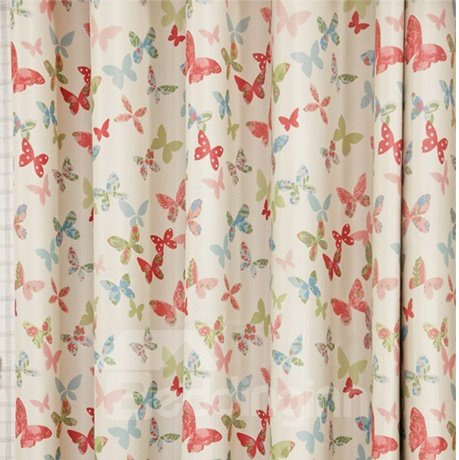 Colorful Butterfly Printing High Shading Degree Grommet Top Curtain