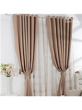 Contemporary Solid Color Modern Home Fashion Grommet Top Curtain