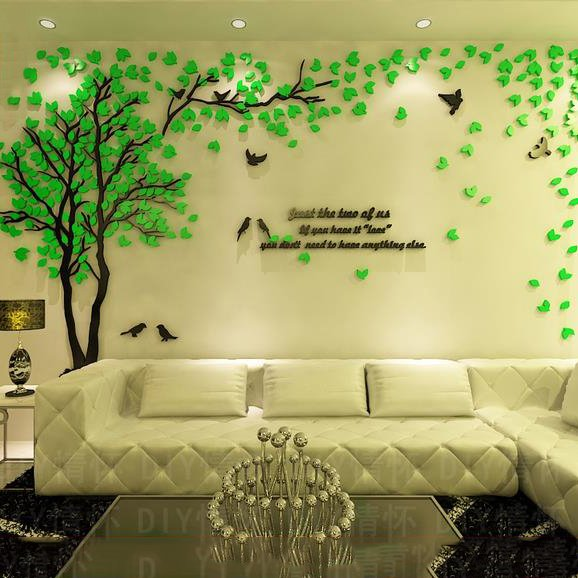 Creative green tree and bird pattern crystal acrylic 3d for Bedroom 3d wall stickers