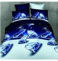 Shining Blue Diamond Print 4-Piece Duvet Cover Sets