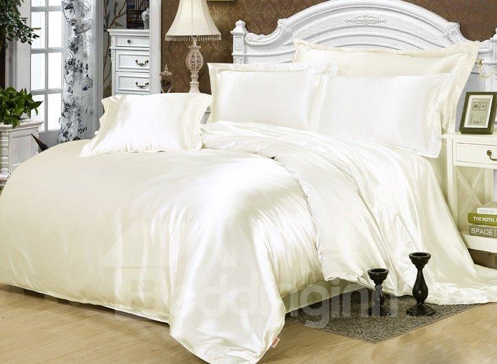 Cream White 4-Piece Silk-Like Duvet Cover Sets