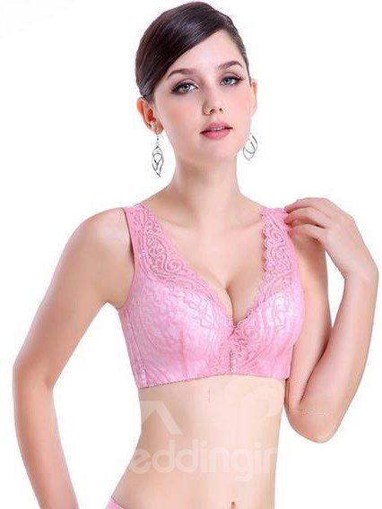 Attractive Whole Lace Wide Shoulder Cotton Interior Bra