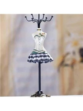 Wonderful Blue Plaid Skirt Rotatable Jewelry Rack for Gifts Ideas