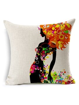 The Girl in Flowers Skirt Printing Throw Pillow