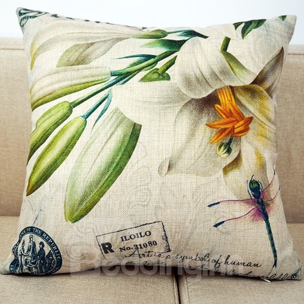 Beautiful 3D White Lily Print Throw Pillow