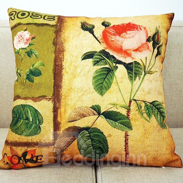 A Blooming Rose Printing Throw Pillow