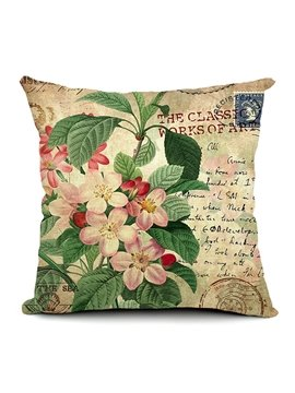 Peach Flowers Printing Throw Pillow