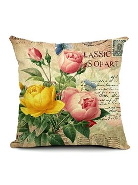 Pink and Yellow Roses Printing Throw Pillow
