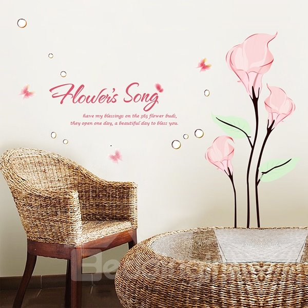 Wonderful Floral Note and Flowers Song Wall Stickers