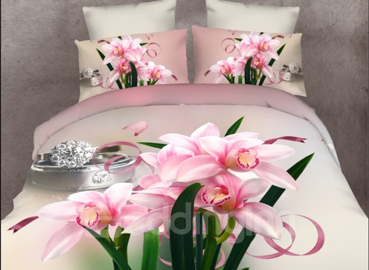 Pink Daffodil and Diamond Ring Print 4-Piece Polyester Duvet Cover Sets