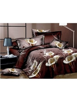 Calla Lily Print 4-Piece Polyester Duvet Cover Sets