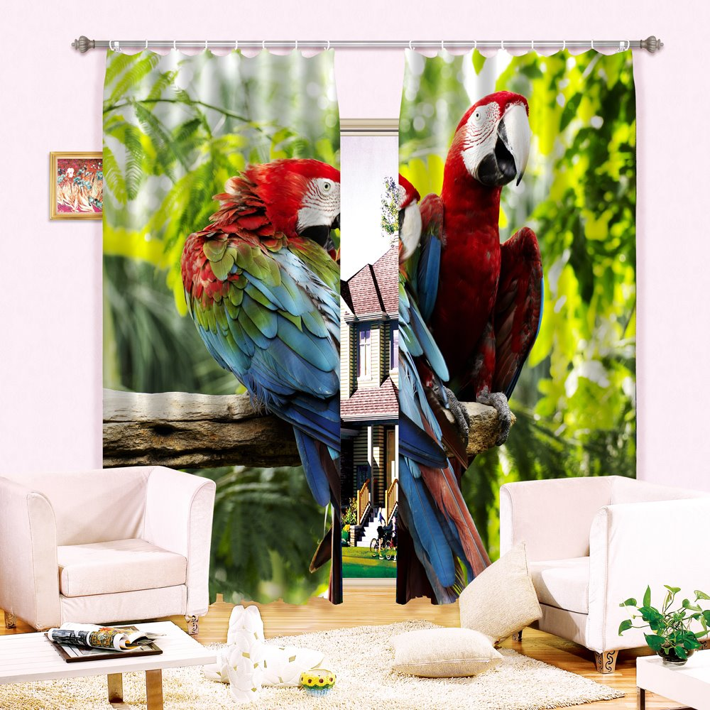 3D Vivid Couple Parrots Printed Thick Polyester Blackout and Decorative Curtain