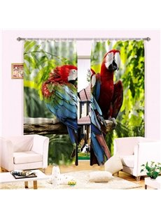 Vivid Couple Colored Parrots Standing on Branch Printing 3D Curtain