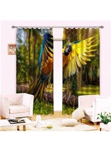 Vivid Flying Parrot Printing 3D Curtain