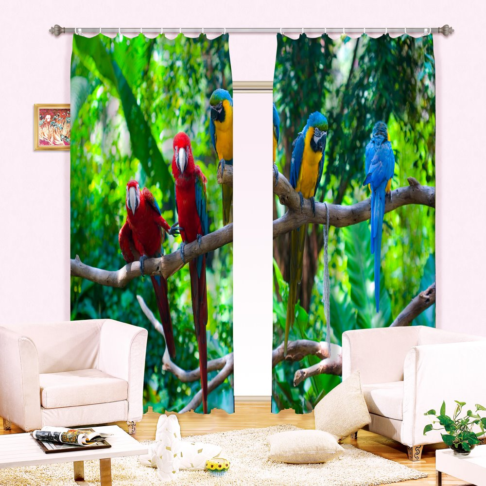 3D Lifelike Colorful Parrots on Branches Printed Animals Style 2 Panels Blackout Curtain