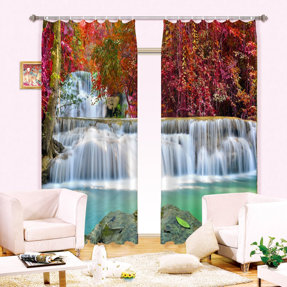 Amazing Red Leaves and Waterfalls Printing Blackout and Dust-Proof 3D Curtain