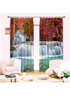 Amazing Red Tree Leaves Waterfall Printing 3D Curtain