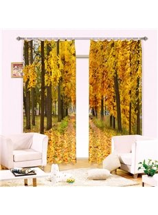 Visually Stunning Yellow Tree Leaves Printing 3D Curtain