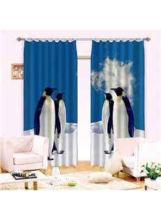 Super Lovely Penguin Standing Printed 3D Curtain
