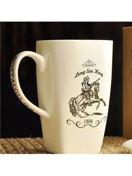 Simple Pattern Knight Bone China Coffee Mug