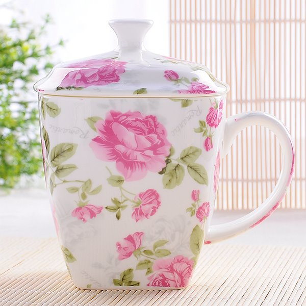 Beautiful Gold Foil Rose Bone China Coffee Mug