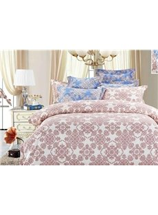 Pink Flower Pattern 4-Piece Polyester Duvet Cover Sets