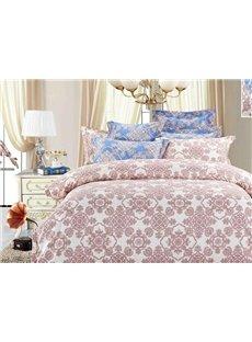 Pink Flower Pattern 4-Piece Polyester Duvet Cover Sets