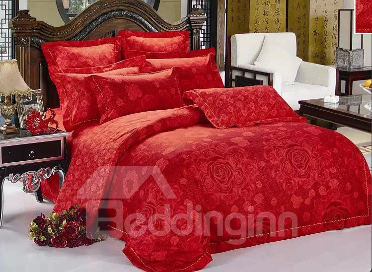 Red Blooming Flower Pattern 4-Piece Bedding Sets/Duvet Cover