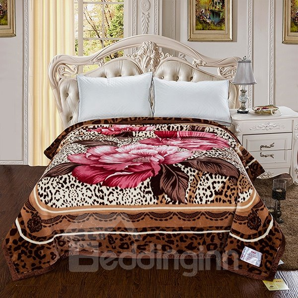 New Arrival Leopard and Peonies Flowers Printed 3D Blanket