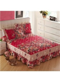 Charming Flowers and Countryside Style Cotton Bed Skirt