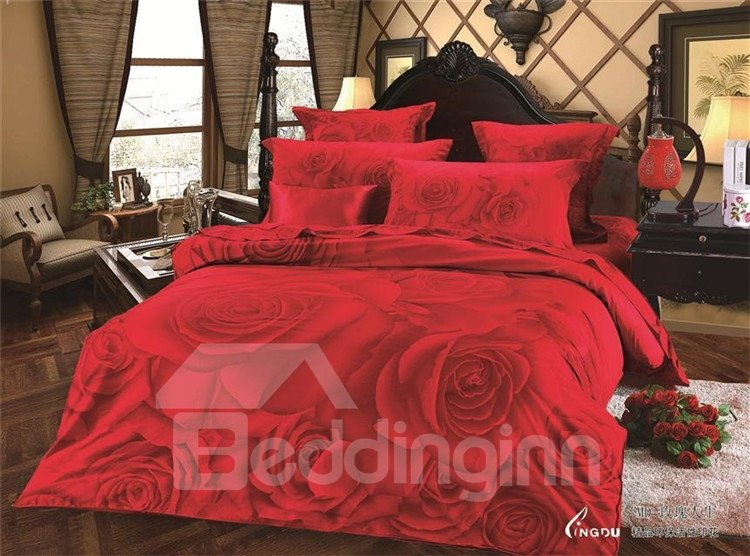 Wonderful Red Rose Print 4-Piece Cotton Duvet Cover Sets