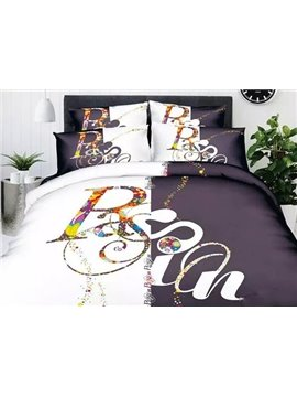 Urban Words Print 4-Piece Cotton Duvet Cover Sets