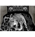 Powerful Leopard Print 4-Piece Polyester Duvet Cover Sets
