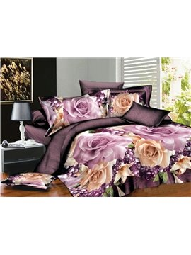 Sweet Rose and Purple Fruit Print 4-Piece Polyester Duvet Cover Sets