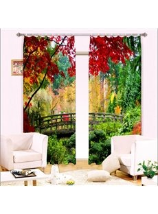 Peaceful Bridge in the Red Trees Nature Scenery Printing 3D Curtain